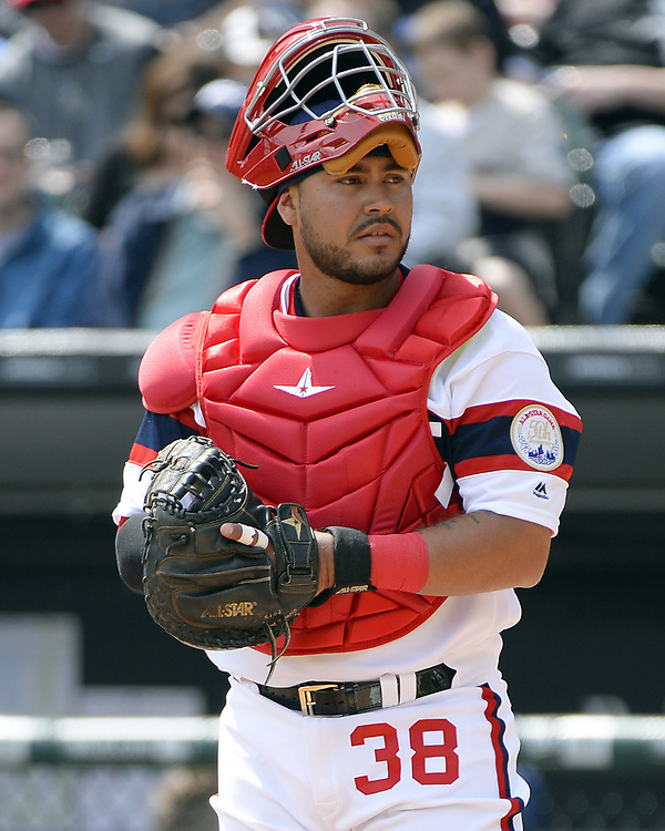 CHICAGO - APRIL 09:  Omar Narvaez #38 of the Chicago White Sox looks on during the game against the Minnesota Twins on April 9, 2017 at Guaranteed Rate Field in Chicago, Illinois.  (Photo by Ron Vesely)   Subject:  Omar Narvaez