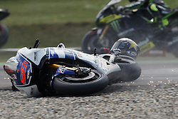 30.06.2012. Circuit Assen, NED, MotoGP, Iveco TT Assen, MotoGP, im Bild crash of Jorge Lorenzo - Yamaha factory team // during the MotoGP of Iveco TT Assen, MotoGP, at the Circuit Assen, Netherlands on 2012/06/30. EXPA Pictures © 2012, PhotoCredit: EXPA/ Insidefoto/ Semedia..***** ATTENTION - for AUT, SLO, CRO, SRB, SUI and SWE only *****