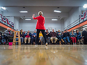 15 DECEMBER 2019 - WASHINGTON, IOWA: US Senator ELIZABETH WARREN (D-MA) speaks to a crowd of about 200 people during a campaign event at Washington Middle School in Washington, IA, Sunday. Warren is campaigning in southeastern Iowa this weekend to support her effort to be the Democratic nominee for the US presidential race in 2020. This was Warren's 182nd town hall, and 85th event in Iowa. Iowa traditionally hosts the first presidential selection event of the campaign season. The Iowa caucuses are Feb. 3, 2020.        PHOTO BY JACK KURTZ