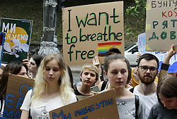 May 24, 2019 - Kiev, Ukraine - Students demonstrate during a Climate Strike protest in front the Cabinet of Ministers in Kiev, Ukraine, on 24 May 2019. Students around the world participate the Friday for future 'Global Strike For Future' protest, demanding their governments to act against global warming. (Credit Image: © Serg Glovny/ZUMA Wire)