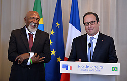 Retired Brazilian football player Paulo Cézar Caju receives the French Legion of Honor from French President Francois Hollande at the Sofitel Rio De Janeiro on August 4, 2016 in Rio De Janeiro, Brazil. Photo by Lionel Hahn/ABACAPRESS.COM