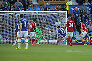Seamus Coleman of Everton shoots and scores his teams 2nd goal. Premier league match, Everton v Middlesbrough at Goodison Park in Liverpool, Merseyside on Saturday 17th September 2016.<br /> pic by Chris Stading, Andrew Orchard sports photography.