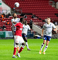 Football - 2020 / 2021 EFL Carabao Cup - Round Three - Bristol City vs  Aston Villa<br />  <br /> Ahmed Elmohamady of Aston Villa beats Famara Diédhiou of Bristol City to the ball, at Ashton Gate.<br />  <br /> COLORSPORT/SIMON KING