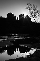 The sun rises over Cathedral Rock in Sedona, Arizona in this photograph taken in the winter of 2007. <br /> <br /> Photographed with a Canon 5D.