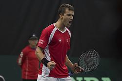 September 15, 2017 - Biel, Schweiz - Biel, 15.09.2017, Tennis, Davis Cup, Schweiz - Weissrussland, Marco Chiudinelli (SUI) freut sich. (Credit Image: © EQ Images via ZUMA Press)
