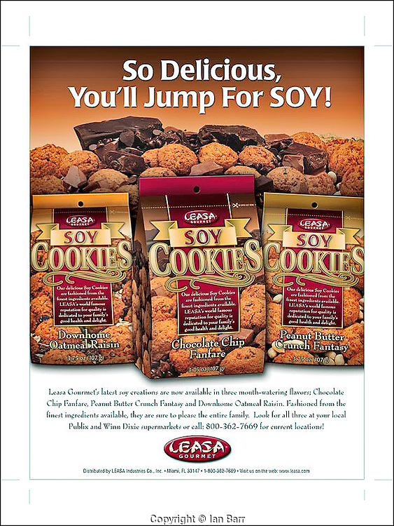 Soy cookies ad for LEASA Gourmet foods