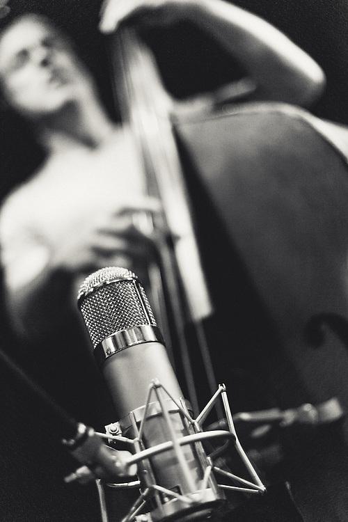 "Sebastian Steinberg recording Beth Orton's album ""Sugaring Season"" at Flora in Portland, OR."
