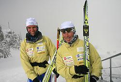 Teja Gregorin and Andreja Mali of Slovenian Women Biathlon Team at Dachstein glacier before new season 2008/2009, Austria, on October 30, 2008.  (Photo by Vid Ponikvar / Sportida)