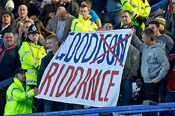 Liverpool, England - Saturday, October 20, 2007: Liverpool's fans tease the Everton fans with a banner reading 'Goodison Riddance' before the 206th Merseyside Derby match against Everton at Goodison Park. (Photo by David Rawcliffe/Propaganda)