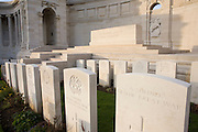 Neat rows of head stones of British and Commonwealth soldiers killed in final stages of WW1 at Vis-en-Artois war grave cemetery