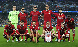 The Liverpool team group before the UEFA Champions League, Quarter Final at the Etihad Stadium, Manchester.