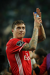 April 22, 2017 - Lisbon, Lisbon, Portugal - Benficas defender Victor Lindelof from Sweden thanking the supporters at the end of the match during Premier League 2016/17 match between Sporting CP and SL Benfica, at Alvalade Stadium in Lisbon on April 22, 2017. (Credit Image: © Dpi/NurPhoto via ZUMA Press)