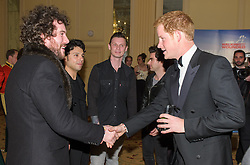 The Stereophonics meet Prince Harry<br /> Prince Harry, Patron of the Walking With The Wounded South Pole Allied Challenge, attends the charity's Crystal Ball at the Grosvenor House Hotel, central London.<br /> The event hosted by Ben Fogle, with music Ellie Goulding and The Stereophonics. Also present were Olympian Matthew Pinsent CBE and Team Glenfiddich. The team of wounded service personnel will accompany the Prince on an expedition to the South Pole later this year, London,<br /> Thursday, 30th May 2013<br /> Picture by Anthony Upton / i-Images
