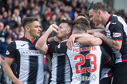 St Mirren's Danny Mullen celebrates scoring his side's first goal of the game during the Ladbrokes Premiership play-off final, second leg match at the Simple Digital Arena, St Mirren.