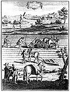 Ploughing and harrowing with horses and sowing seed broadcast. In background is a postmill for grinding corn. From French 'La Nouvelle Maison Rustique' 8th edition Paris 1762. Copperplate engraving.