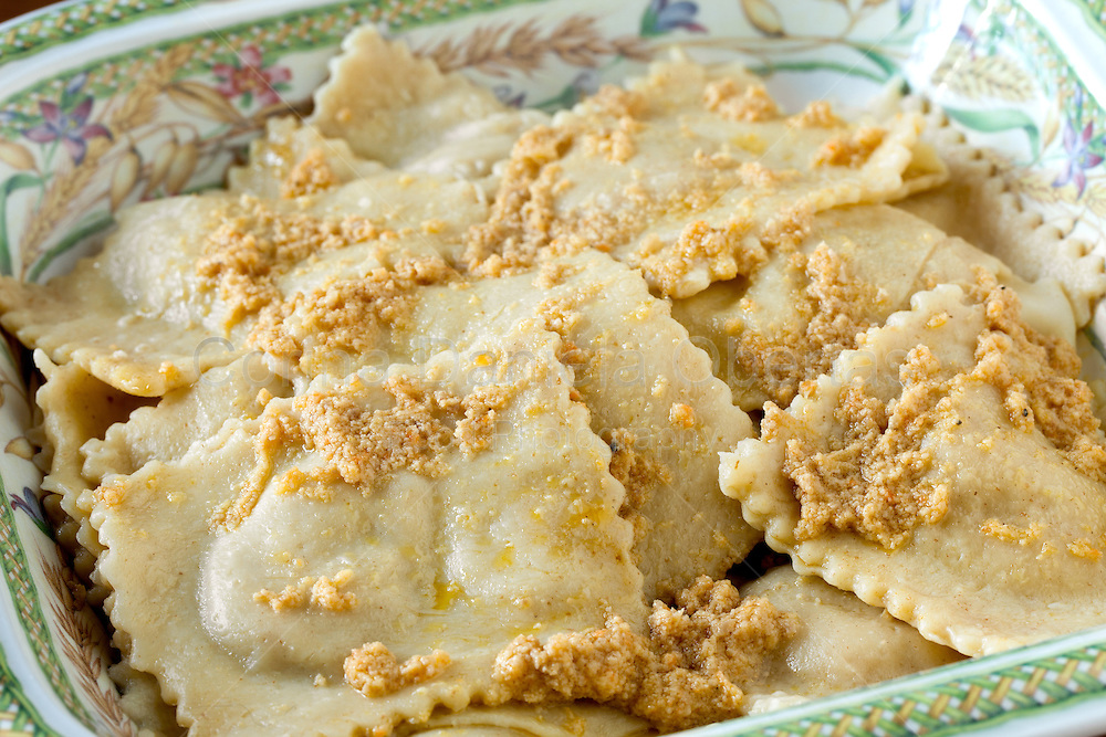 Braised beef agnolotti made with the original recipe from Piedmont, closeup shot.