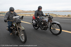 Father and Son - Bill and Billy Page riding their Harley-Davidsons in the Motorcycle Cannonball coast to coast vintage run. Stage 14 (303 miles) from Spokane, WA to The Dalles, OR. Saturday September 22, 2018. Photography ©2018 Michael Lichter.
