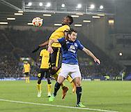 Leighton Baines of Everton challenged by Divock Origi of Lille - UEFA Europa League - Everton vs  Lille - Goodison Park Stadium - Liverpool - England - 6th November 2014 - Pic Simon Bellis/Sportimage