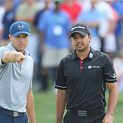 Jordan Spieth, (left), USA, and Jason Day, Australia, in discussion on the ninth hole during The Barclays Golf Tournament at The Plainfield Country Club, Edison, New Jersey, USA. 27th August 2015. Photo Tim Clayton