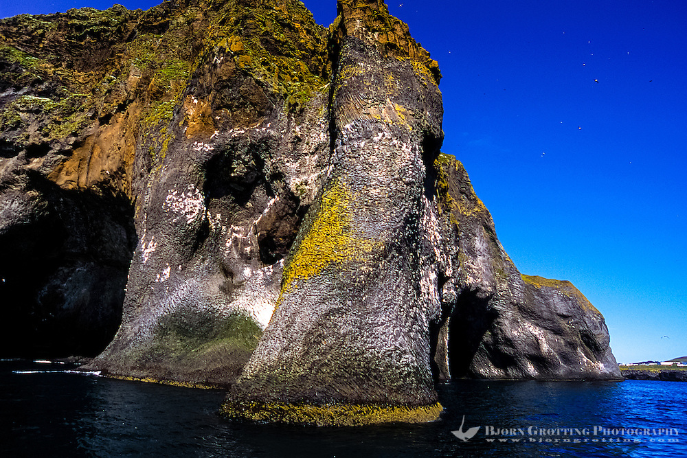 """Vestmannaeyjar Islands off the south coast of Iceland. Heimaey is the main island. This rock formation is called """"The Elephant""""."""