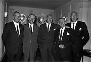 03/07/1963<br /> 07/03/1963<br /> 03 July 1963<br /> American executives of N.C.R. visit Dublin. Two top executives of the Dayton, Ohio, headquarters of the National Cash Register Company, one of the world's foremost manufacturers of cash registers, accounting machines and electronic computers, visiting Dublin. Picture shows at the Gresham Hotel, Dublin, (l-r): Mr W.R. Dooley, Manager for Ireland Accounting Machine Division N.C.R.; Mr. D.K. Hughes, Manager Overseas Factories, N.C.R.; Mr George Haynes Vice President International Operations N.C.R.; Mr W.R. Hart, Director N.C.R. (Great Britain) and O.J. Byrne,  Manager for Ireland, Cash Register Division N.C.R.