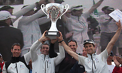 (l) Greg Evard ,Thierry Briend , Olivier Herledant ,Mathieu Richard (france)celebrates winning   of Match Race France   in  Marseille, France 11 April 2010 Photo: Brendon O'Hagan/Subzero images