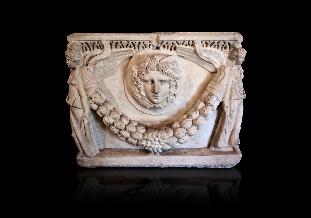 End panel of a Roman relief garland  sculpted sarcophagus, style typical of Pamphylia, 3rd Century AD, Konya Archaeological Museum, Turkey. Against a black background .<br /> <br /> If you prefer to buy from our ALAMY STOCK LIBRARY page at https://www.alamy.com/portfolio/paul-williams-funkystock/greco-roman-sculptures.html . Type -    Konya     - into LOWER SEARCH WITHIN GALLERY box - Refine search by adding a subject, place, background colour, museum etc.<br /> <br /> Visit our ROMAN WORLD PHOTO COLLECTIONS for more photos to download or buy as wall art prints https://funkystock.photoshelter.com/gallery-collection/The-Romans-Art-Artefacts-Antiquities-Historic-Sites-Pictures-Images/C0000r2uLJJo9_s0