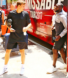 Manchester United players Victor Lindelöf and Romelu Lukaku spotted exiting tour bus in Los Angeles, California. 13 Jul 2017 Pictured: Victor Lindelöf, Romelu Lukaku. Photo credit: KAT / MEGA TheMegaAgency.com +1 888 505 6342