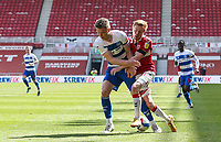 Middlesbrough's Duncan Watmore vies for possession with Queens Park Rangers' Rob Dickie<br /> <br /> Photographer Alex Dodd/CameraSport<br /> <br /> The EFL Sky Bet Championship - Middlesbrough v Queens Park Rangers - Saturday 17th April 2021 - Riverside Stadium - Middlesbrough <br /> <br /> World Copyright © 2021 CameraSport. All rights reserved. 43 Linden Ave. Countesthorpe. Leicester. England. LE8 5PG - Tel: +44 (0) 116 277 4147 - admin@camerasport.com - www.camerasport.com