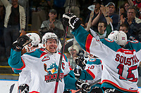 KELOWNA, CANADA - MAY 1: Madison Bowey #4 and Tomas Soustal #15 of Kelowna Rockets celebrate the overtime win against the Portland Winterhawks at the end of game 5 of the Western Conference Final on May 1, 2015 at Prospera Place in Kelowna, British Columbia, Canada. The Kelowna Rockets lead the series 3-2. (Photo by Marissa Baecker/Getty Images)  *** Local Caption *** Madison Bowey; Tomas Soustal;