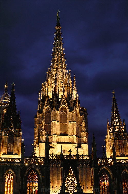 Night shot of the façade of the Gothic Cathedral (built 13th to 15th Century) in Barcelona, Spain.