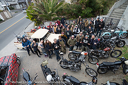 Group photo of riders on the Blue Groove shop ride from Kamakura to Miura Penninsula. Japan. Monday December 4, 2017. Photography ©2017 Michael Lichter.