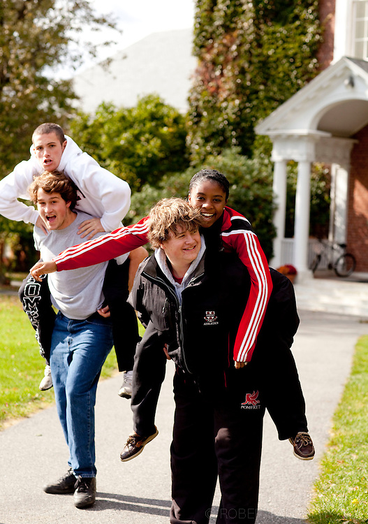 The Pomfret School, Pomfret, CT. 2010-2011. Students enjoy a fall afternoon on the campus of the Pomfret School, a New England college preparatory boarding and day school. (Photo by Robert Falcetti).Admissions marketing & communications photography.  ... .