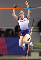 Great Britain's Holly Bradshaw clears the bar during the Women's Pole Vault Final during day three of the European Indoor Athletics Championships at the Emirates Arena, Glasgow.