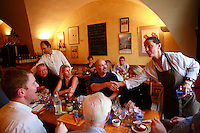 Beaune, Burgundy, France...Pierre and Fabienne Escoffier, the owners of Ma Cuisine, with guests..He is the host and she is the chef..Photo by Owen Franken for the NY Times..May 27, 2008