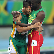 Athletics - Olympics: Day 9  Wayde Van Niekerk of South Africa is congratulated by Kirani James of Grenada after winning the Men's 400m Final at the Olympic Stadium on August 14, 2016 in Rio de Janeiro, Brazil. (Photo by Tim Clayton/Corbis via Getty Images)