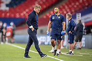Oxford United Manager Karl Robinson looks devastated at full time during the EFL Sky Bet League 1 Play Off Final match between Oxford United and Wycombe Wanderers at Wembley Stadium, London, England on 13 July 2020.