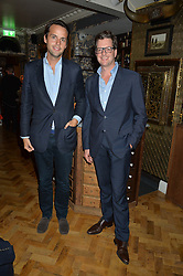 Left to right, CHARLIE GILKES and WILLIAM SITWELL at the opening party of Mr Fogg's Tavern, 58 St.Martin's Lane, London hosted by William Sitwell on 8th October 2015.