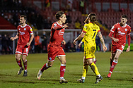 GOAL 1-0 Crawley Town forward Tom Nichols (#16) scores from the spot and celebrates in the EFL Sky Bet League 2 match between Crawley Town and Walsall at The People's Pension Stadium, Crawley, England on 16 March 2021.
