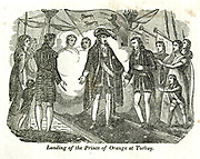 Landing of the Prince of Orange at Torbay from the book History of England : with separate historical sketches of Scotland, Wales, and Ireland; from the invasion of Julius Cæsar until the accession of Queen Victoria to the British throne. By Russell, John, A. M., Published in Philadelphia by Hogan & Thompso in 1844