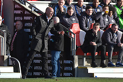Fleetwood Town manager Uwe Rosler reacts on the touchline
