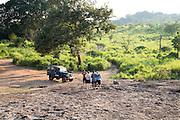 Tourists pose for photo Hurulu Eco Park biosphere reserve, Habarana, Anuradhapura District, Sri Lanka, Asia