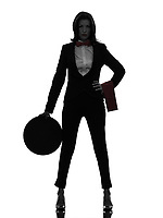 one  woman waiter butler in silhouette on white background