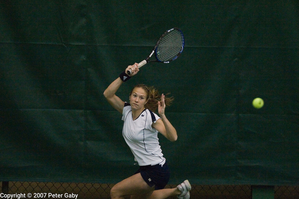 Catrina Thompson from Notre Dame during play at the 2007 USTA/ITA National Women's Team Indoor Championships at the Nielsen Tennis Stadium, Feb. 1st-4th hosted by the University of Wisconsin.