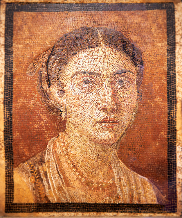 Roman Mosaic portrait of a women from Pompei Archaeological Site. Naples Archaeological Museum inv 124666 ..<br /> <br /> If you prefer to buy from our ALAMY PHOTO LIBRARY  Collection visit : https://www.alamy.com/portfolio/paul-williams-funkystock/roman-mosaic.html - Type -   Naples   - into the LOWER SEARCH WITHIN GALLERY box. Refine search by adding background colour, place, museum etc<br /> <br /> Visit our ROMAN MOSAIC PHOTO COLLECTIONS for more photos to download  as wall art prints https://funkystock.photoshelter.com/gallery-collection/Roman-Mosaics-Art-Pictures-Images/C0000LcfNel7FpLI
