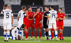 HELSINKI, FINLAND - Thursday, September 3, 2020: Wales' Ben Davies clashes with Finland's captain Tim Sparv during the UEFA Nations League Group Stage League B Group 4 match between Finland and Wales at the Helsingin Olympiastadion. (Pic by Jussi Eskola/Propaganda)