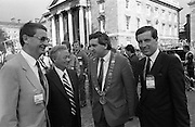 Nissan International Cycle Race..1986..01.10.1986..10.01.1986..1st October 1986..The Nissan Classic began today from Trinity College,Dublin. The offical race starter was The Taoiseach,Dr Garrett FitzGerald TD. He was accompanied by the Minister for Sport,Mr Sean Barrett TD..Sean Kelly was returning to defend his title but his opposition included Greg LeMond, the 1983 world champion and the winner of the Tour de France of the previous July. Roche was out due to his injured leg. Adri van der Poel was back with 1980 Tour de France winner and 1985 world champion Joop Zoetemelk. Teun van Vliet was back too. The winner of the green jersey of the Tour de France that July, Eric Vanderaerden was there as well as Australians Phil Anderson and Alan Peiper as well the Scottish cyclist Robert Millar...Image of The Lord Mayor Of Dublin,Mr Bertie Ahern discussing the race with Nissan management and race officials....