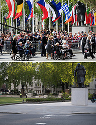 File photo dated 10/05/15 showing veterans passing the statue of Sir Winston Churchill, during the VE Day Parade to mark the 70th anniversary of VE Day, at Parliament Square in London, celebrating VE (Victory in Europe) Day in London, marking the end of the Second World War in Europe now 75 years ago, and how it looked 2/5/2020.