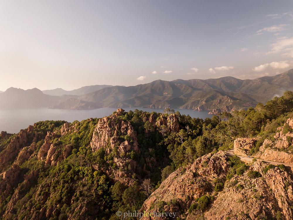 Mountains, sea bay and horizon, Calanches de Piana, Corsica, France