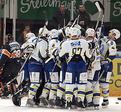 25.02.2010, Eisstadion Liebenau, Graz, AUT, EBEL, Graz 99ers vs KHL Zagreb, im Bild Jubel, Sieg, KHL Zagreb, Mannschaft, EXPA Pictures © 2010, PhotoCredit: EXPA/ J. Hinterleitner / SPORTIDA PHOTO AGENCY.